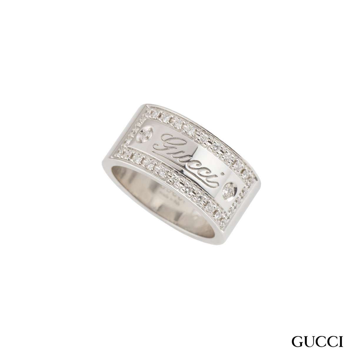 Gucci White Gold Diamond Band Ring
